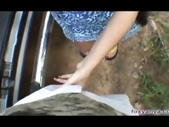 foxy anya gives a roadside blowjob