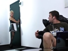aged hotel maid catches a young jerking in the