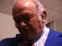 unattractive lady fucks and licks old mans butt