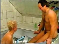 nasty german grandma drilled in bathtub amateur