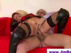 redhead in leather boots fucked by old guy