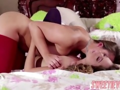 wild brunette danis first time lesbo fuck with