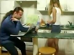 petite daughter seduce old man in kitchen