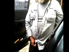 older beard dad jerks his penis by his truck