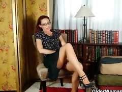 business lady masturbates in hose