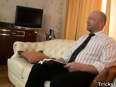 hawt missy pounded wildly on teachers couch.