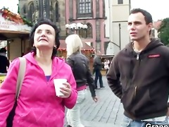granny tourist jumps on pounder