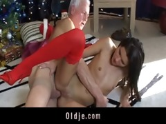grey oldman receives a real doll to fuck for