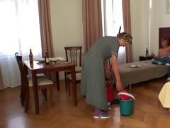 cleaning lady takes his horny cock from behind