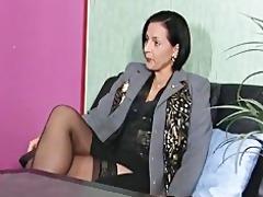 slutty dark brown milf secretary receives soaked