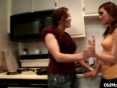 lesbo love in the kitchen