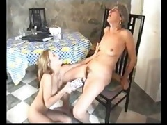 old and young lesbian babes playing with bottle