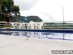 colombian ideal beauty fucking in the pool