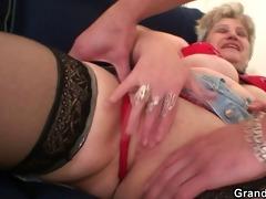 grandma in darksome nylons sucks and rides at