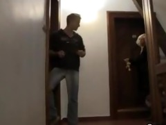 blond granny allows him drill her old cunt