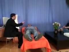granny gives double oral sex and gets doggystyle