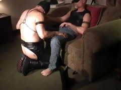 compliant masked guy engulfing dick - pig dad