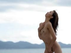 asian beauty finger by the ocean