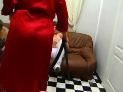 russian aged mother seducing younger in silk