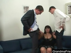 chubby aged seduced by two young guys