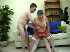78 years old grandma libby 3some with young guys