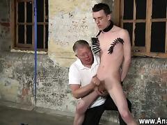 naked guys with his tender ball-sac tugged and