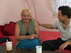blonde granny gets her bushy muff pounded
