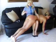 lesbo spanking and kissing