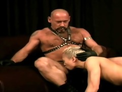 vicious leather dad subdues pussy boy