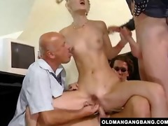 blonde takes grandpas anal group sex