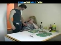 big beautiful woman drunk older and young boy