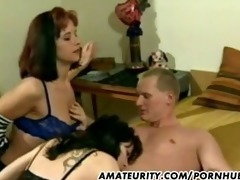 sexy dilettante milfs in a homemade trio