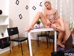 nelya gets her milk cans licked and sucked by her