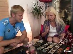 blonde oldie sucks and rides his meaty schlong