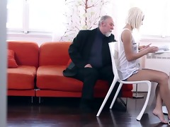 blond teen tanya surprised by the old mans sexual