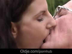 old fart fucking youthful brunette whore