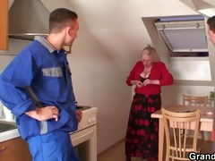 repairmen share busty grandma