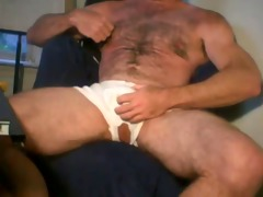 butch muscle dad bear jacking off
