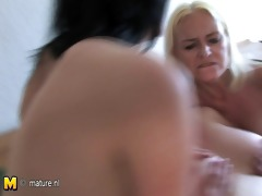 three horny aged mothers share one hard thonging