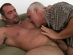 mature homo daddy and tattooed hunk having