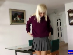 horny teen in uniform masturbating