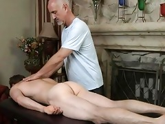 older gay daddy gives youthful handsome guy a