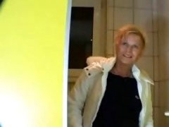 german aged woman drilled in public toilet