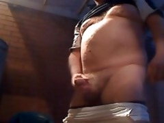 rugby daddy piss, wank, and cum