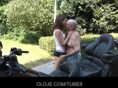 juvenile russian girl rides truly old man