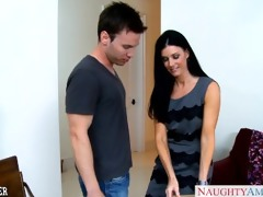 stockinged india summer receives facialized