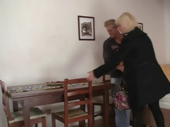old blonde takes it is from behind