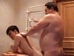 chubby gay dad bangs his young twink in bathroom