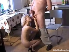 old chap screwed a blonde babe in the kitchen