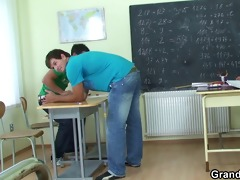very old teacher is pounded by boys